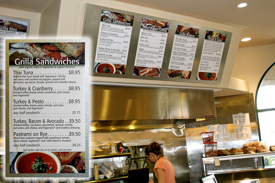 Grilla Bites menu signs
