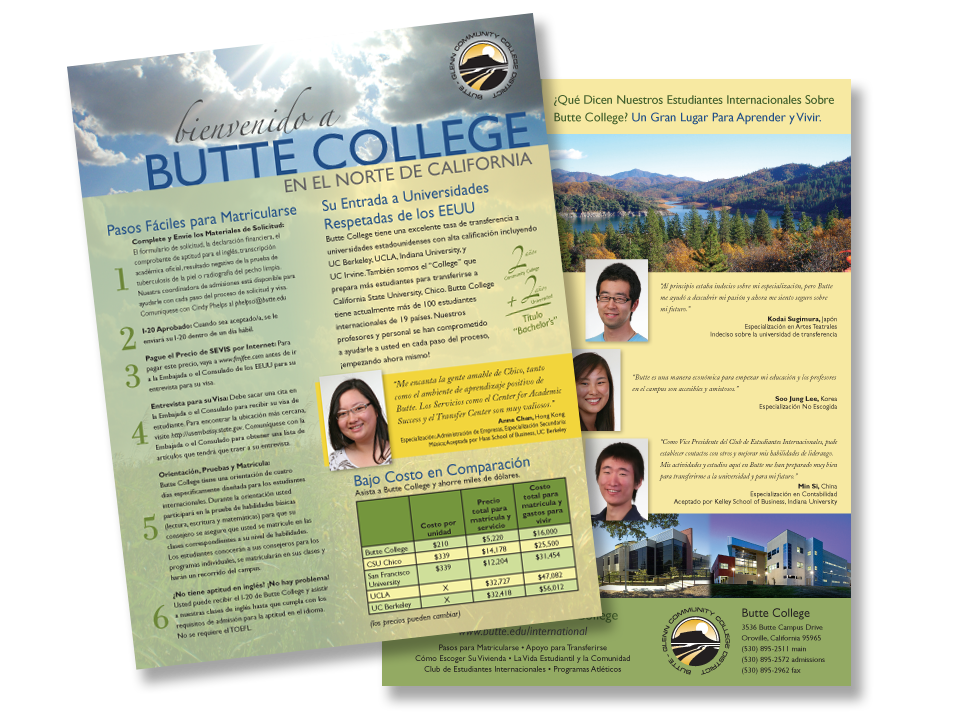 Butte College brochure, Spanish translation