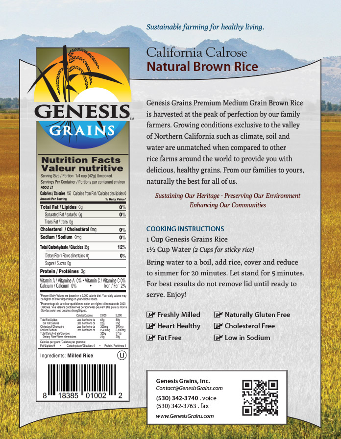 Genesis Grains packaging