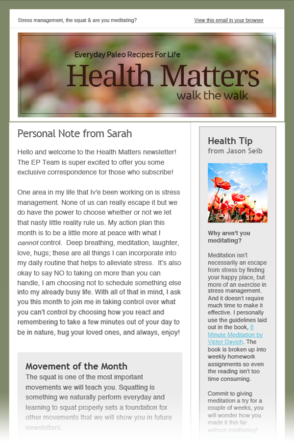 Everyday Paleo html email newsletter